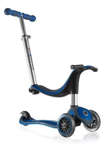 Globber Kids Mini Kick Scooter 3 Wheel Blue 4 In 1
