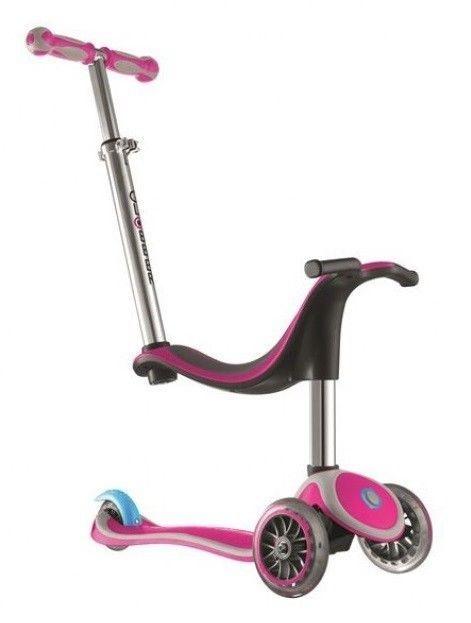 Globber Kids Mini Kick Scooter 3 Wheel Pink 4 In 1 Bike Trike Scooter