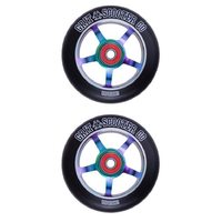 GRIT SCOOTER WHEELS PAIR - 100MM NEOCHROME BLACK - BEARINGS INCLUDED