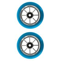 METAL CORE 110MM SCOOTER WHEELS SET OF 2 WITH BEARINGS - BLUE SILVER