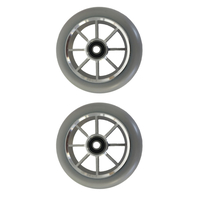 METAL CORE 110MM SCOOTER WHEELS SET OF 2 WITH BEARINGS - GREY SILVER