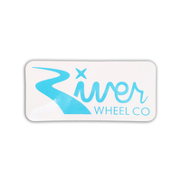 RIVER WHEEL CO SCOOTER STICKER BLUE LOGO - SMALL