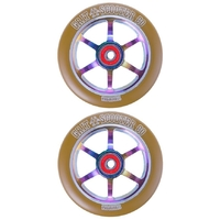 GRIT SCOOTER WHEELS PAIR - 110MM GUM NEOCHROME - BEARINGS INCLUDED