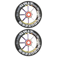 GRIT SCOOTER WHEELS PAIR - 110MM BLACK NEOCHROME - BEARINGS INCLUDED