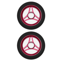 AZTEK 110MM SCOOTER WHEELS SET OF 2 - TRILOGY BLACK PU RED CORE