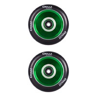 CHILLI 110MM POPS SCOOTER WHEELS SET OF 2 WITH BEARINGS - BLACK GREEN