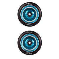 CHILLI 110MM COAST SCOOTER WHEELS SET OF 2 WITH BEARINGS - BLACK BLUE