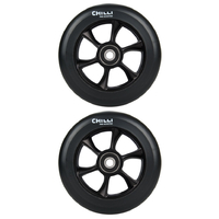 CHILLI 110MM TURBO SCOOTER WHEELS SET OF 2 WITH BEARINGS - BLACK BLACK