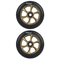 CHILLI 110MM TURBO SCOOTER WHEELS SET OF 2 WITH BEARINGS - BLACK GOLD
