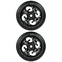 ELITE - 110MM ETCHED CORE SCOOTER WHEELS SET OF 2 WITH BEARINGS - BLACK BLACK