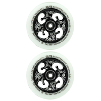 ELITE - 110MM ETCHED CORE SCOOTER WHEELS SET OF 2 WITH BEARINGS - WHITE BLACK