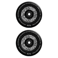 ELITE - 110MM AIR RIDE SCOOTER WHEELS SET OF 2 WITH BEARINGS - BLACK / FLORAL