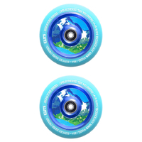 ELITE - 110MM AIR RIDE SCOOTER WHEELS SET OF 2 WITH BEARINGS - BLUE / BLUE