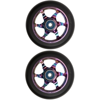 FLAVOR AWAKENING 110MM SCOOTER WHEEL SET OF 2 WITH BEARINGS - BLACK NEOCHROME