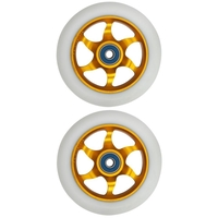 FLAVOR AWAKENING 110MM SCOOTER WHEEL SET OF 2 WITH BEARINGS - GOLD WHITE