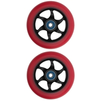 FLAVOR AWAKENING 110MM SCOOTER WHEEL SET OF 2 WITH BEARINGS - RED BLACK