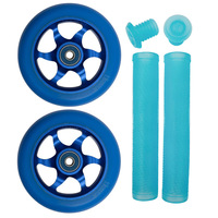 FLAVOR 110MM AWAKENING WHEELS + GRIPS COMBO PACK - TRANS BLUE