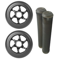 FLAVOR 110MM AWAKENING WHEELS + GRIPS COMBO PACK - TRANS BLACK