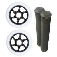 FLAVOR 110MM AWAKENING WHEELS + GRIPS COMBO PACK - WHITE BLACK
