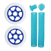 FLAVOR 110MM AWAKENING WHEELS + GRIPS COMBO PACK - WHITE BLUE