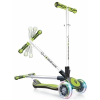 GLOBBER MY FREE FOLD UP SCOOTER 3 WHEEL - LED WHEELS - GREEN