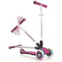 GLOBBER MY FREE FOLD UP SCOOTER 3 WHEEL - LED WHEELS - PINK