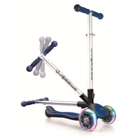 GLOBBER MY FREE FOLD UP SCOOTER 3 WHEEL - LED WHEELS - BLUE