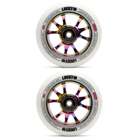 LUCKY TOASTER 110MM SCOOTER WHEEL SET - WHITE NEOCHROME