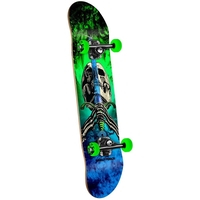 POWELL PERALTA COMPLETE SKATEBOARD - SKULL AND SWORD STORM GREEN BLUE