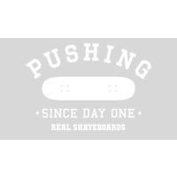 REAL SKATEBOARDS PUSHING DIECUT STICKER WHITE X 1