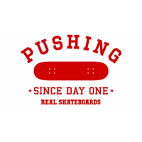 REAL SKATEBOARDS PUSHING DIECUT STICKER RED X 1
