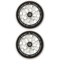 REVOLUTION - 110MM TWIN CORE SCOOTER WHEELS SET OF 2 WITH BEARINGS - SILVER