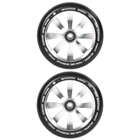REVOLUTION - 120MM TWIN CORE SCOOTER WHEELS SET OF 2 WITH BEARINGS - SILVER