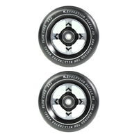 REVOLUTION - 110MM FLOW CORE SCOOTER WHEELS SET OF 2 WITH BEARINGS - BLACK BLACK