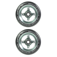 REVOLUTION - 110MM FLOW CORE SCOOTER WHEELS SET OF 2 WITH BEARINGS - BLACK GUNMETAL RAW