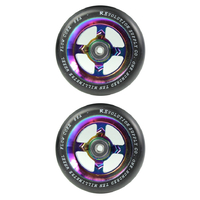 REVOLUTION - 110MM FLOW CORE SCOOTER WHEELS SET OF 2 WITH BEARINGS - BLACK NEOCHROME