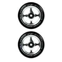 REVOLUTION - 110MM JON RAYES SCOOTER WHEELS SET OF 2 WITH BEARINGS - BLACK SILVER