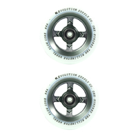 REVOLUTION - 110MM FLOW CORE SCOOTER WHEELS SET OF 2 WITH BEARINGS - WHITE GUNMETAL