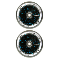 ROOT INDUSTRIES AIR 110MM WHEEL SET - BLACK PU BLACK BLUE SPLATTER