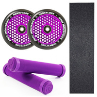 ROOT INDUSTRIES 110MM HONEYCORE PURPLE WHEELS + GRIPS + GRIP TAPE COMBO PACK