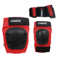 SMITH KNEE ELBOW WRIST PROTECTIVE PAD SET - TRI PACK - YOUTH SIZE - RED
