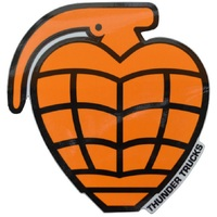 THUNDER TRUCKS SKATEBOARD STICKER - GRENADE DIECUT ORANGE BLACK X 1