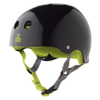 TRIPLE 8 BRAINSAVER SS HELMET - BLACK GLOSS GREEN  - SIZE MEDIUM - SKATE SCOOTER