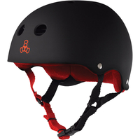 TRIPLE 8 BRAINSAVER SS HELMET - BLACK RED RUBBER - SIZE SMALL - SKATE SCOOTER