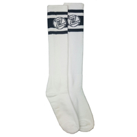 Z-FLEX SKATE SOCKS - BLACK STRIPES TALL SOCKS WHITE PAIR