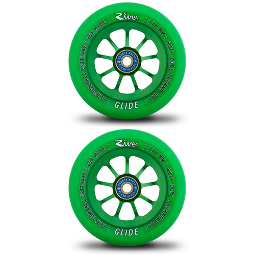 RIVER 110MM SCOOTER WHEELS SET OF 2 - EMERALD GLIDES