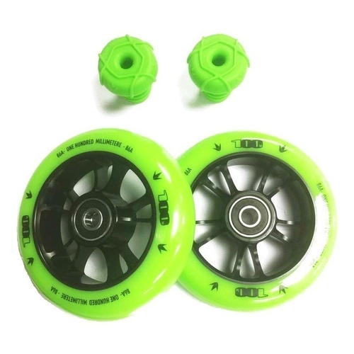 ENVY ONE COLOUR PACK - GREEN - 100MM WHEELS AND BAR ENDS