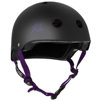 S1 S-One Lifer Certified Helmet Black Matte Purple Strap Extra Large