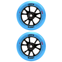 Lucky Toaster 100mm Scooter Wheel Set - Black Blue Neon