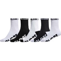 Globe Boys Youth Socks 5 Pairs Quarter Black White